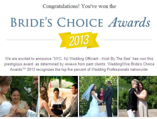 2013 Wedding Officiant New York City Wires Brides Choice Award