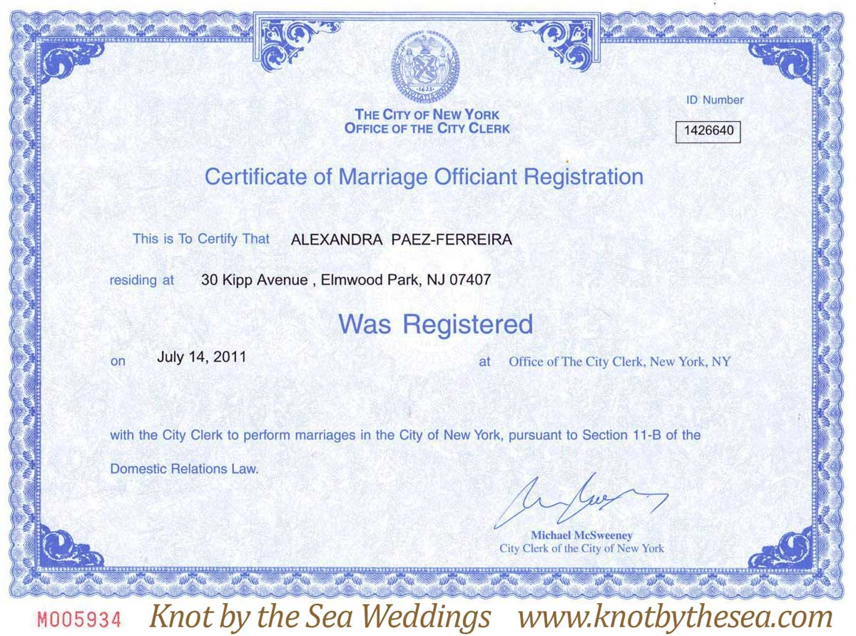 New York City Certificate of Marriage-Officiant Registration Central ...